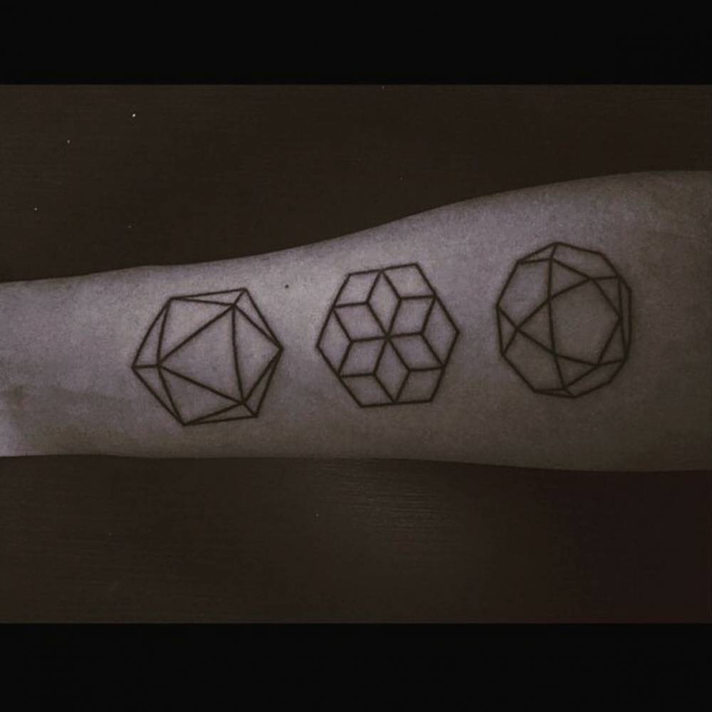 Mninimalist three geometric shape tattoos
