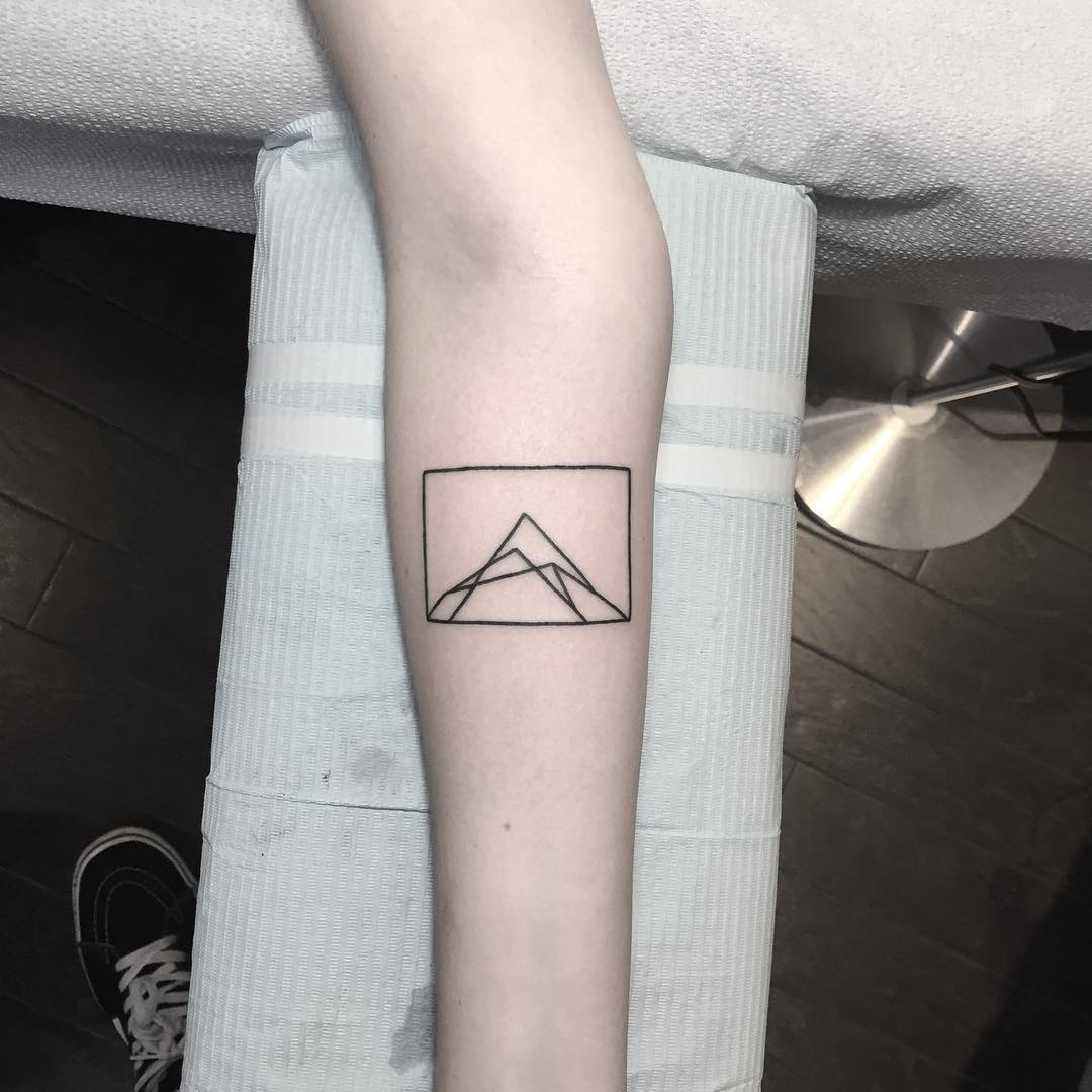 Mountain in a rectangle tattoo