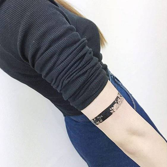 Negative space black and white armband