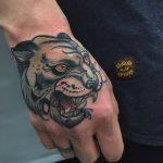 Neo traditional panther head tattoo
