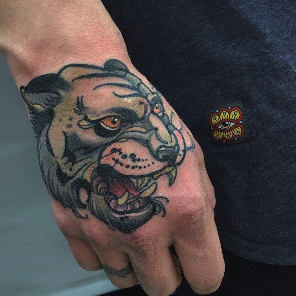Neo Traditional Panther Head Tattoo Tattoogrid Net