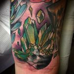Neo traditional style crystal cluster tattoo