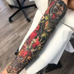 Neo traditional style sleeve tattoo