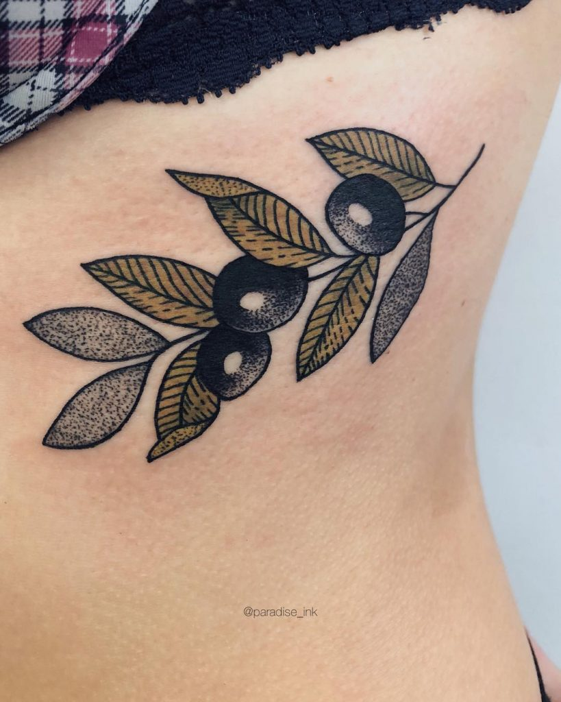 Olive branch on the rib