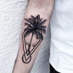 Palm tree and hangman's knot tattoo