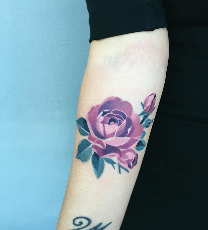 Purple watercolor rose tattoo