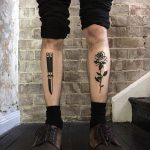 Rose and butterfly knife tattoos