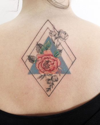 Rose in a rhombus and a triangle