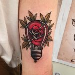 Rose lightbulb tattoo