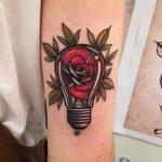 Rose lightbulb tattoo