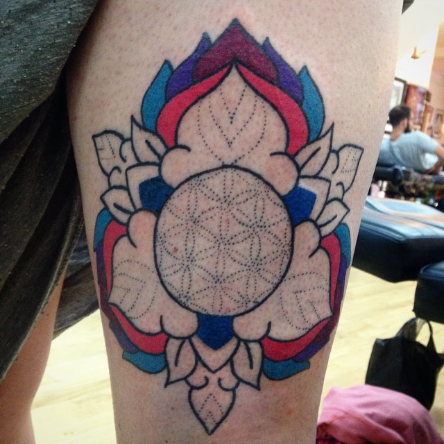 Seed of life and flower tattoo
