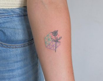 Seed of life and rose tattoo