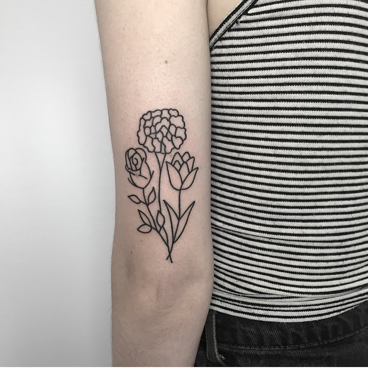 Simple Flower Tattoo On The Back Of The Arm Tattoogrid Net