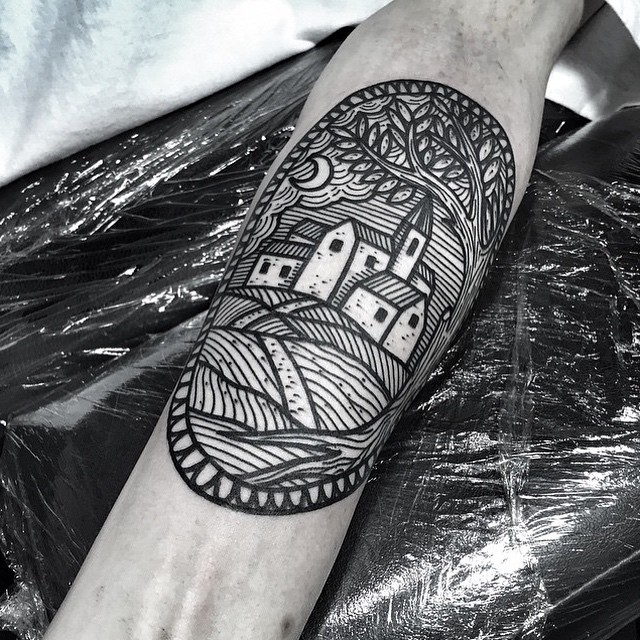 Small medieval town tattoo