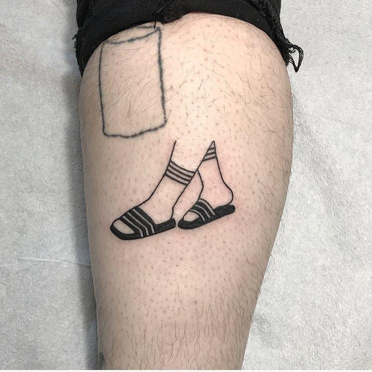 Socks and sandals tattoo