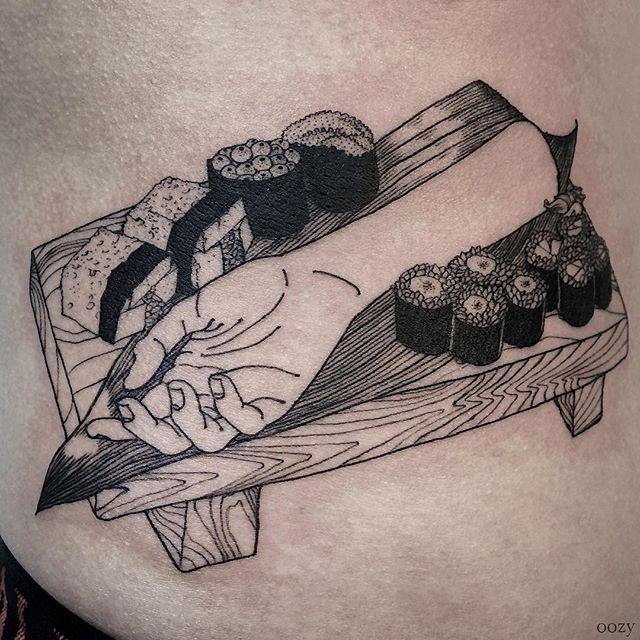 Sushi hand tattoo