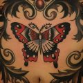 Traditional butterfly tattoo on the belly