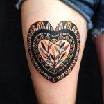 Traditional ornamental heart tattoo