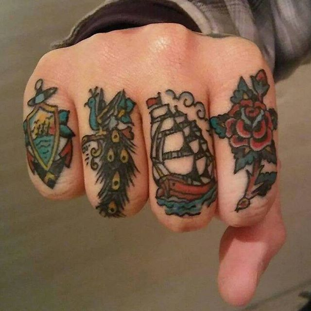Traditional ship, flower and anchor tattoos