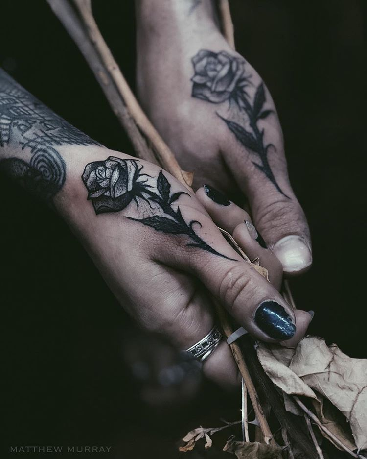 Two black roses on thumbs