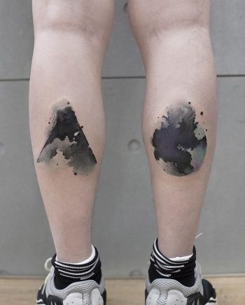 Watercolor earth and volcano tattoos