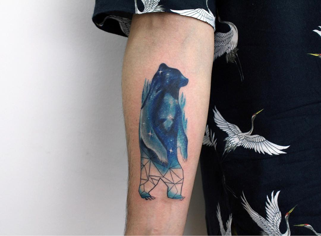 Watercolor standing bear tattoo