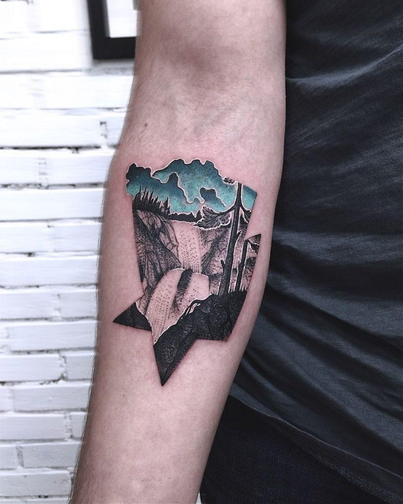 Waterfall landscape tattoo