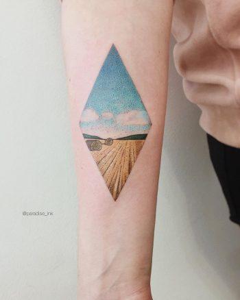 Wheat fields landscape tattoo