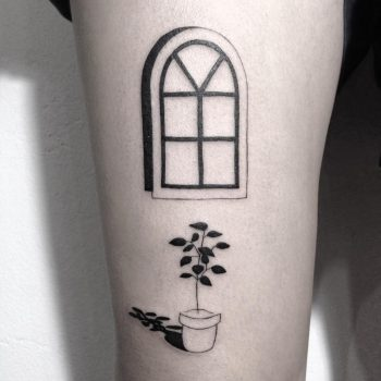 Window frame and pot tattoo