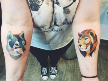 Wolf and lion tattoos