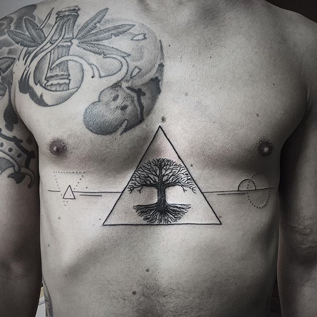 Yggdrasil tattoo on sternum