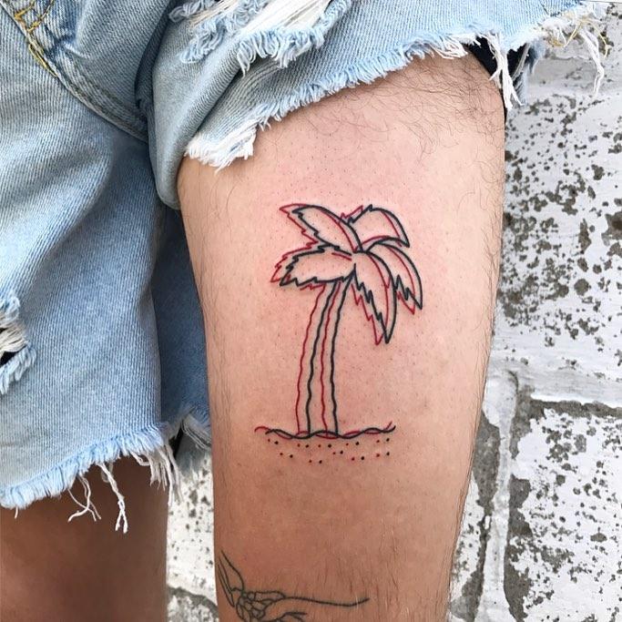 3d effect palm tree tattoo