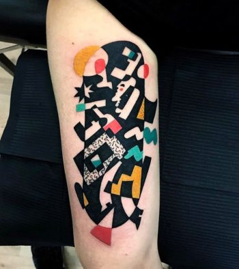 Abstract cubist tattoo by luca font