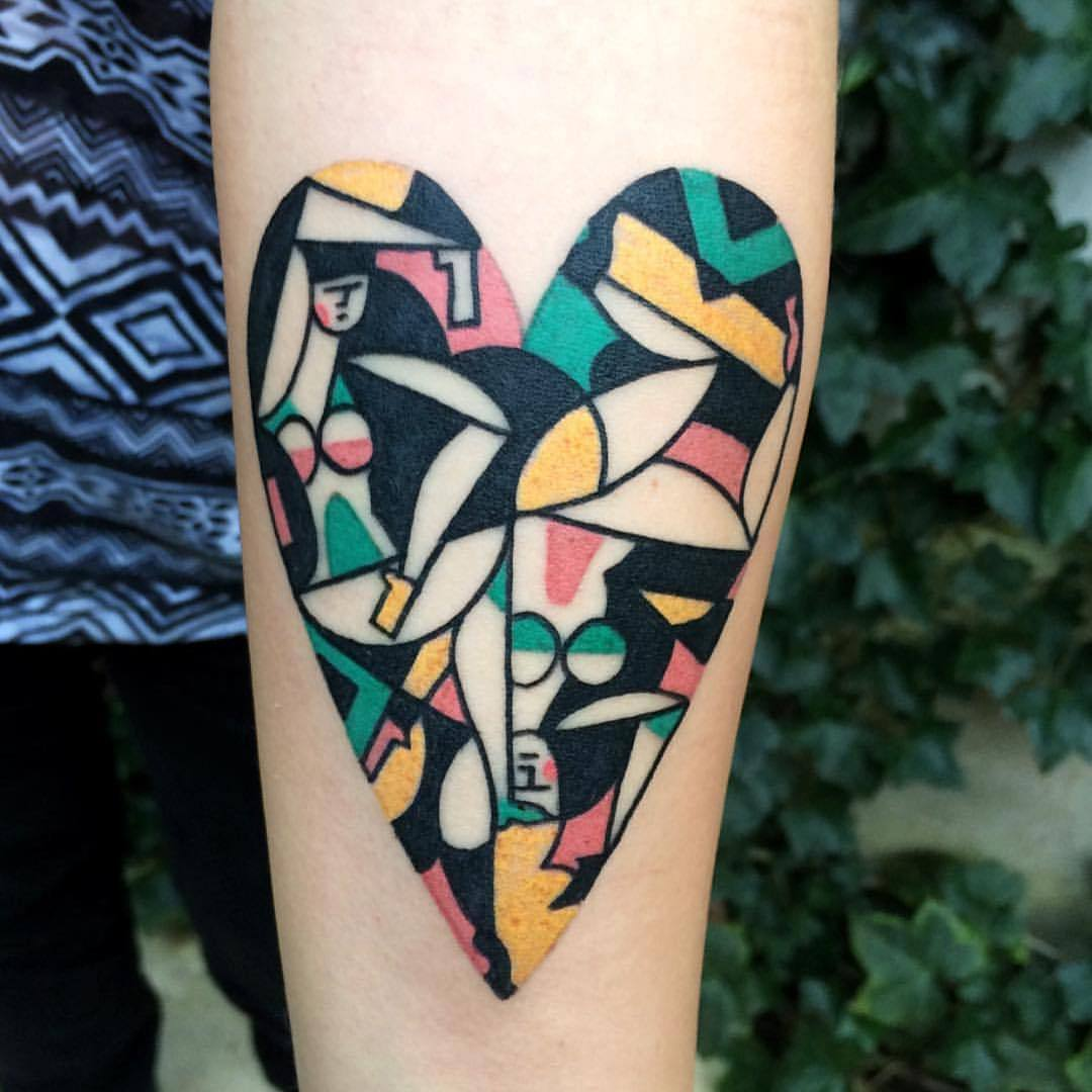 Abstract heart shaped tattoo by luca font