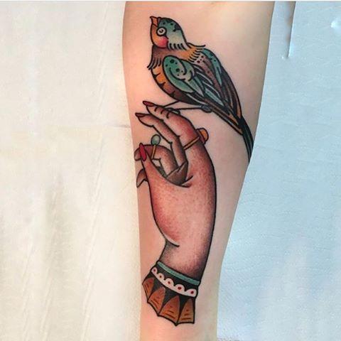 Bird on a hand tattoo