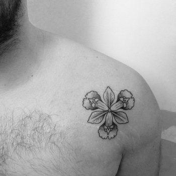 Black and grey iris flower tattoo