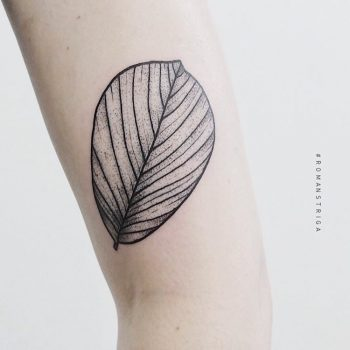 Black and grey leaf tattoo
