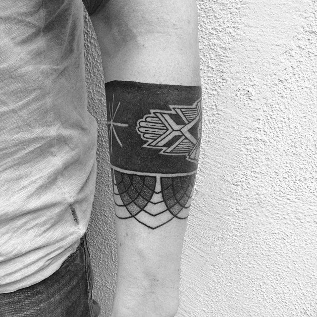 Black ornamental armband tattoo