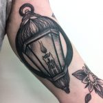 Blackwork lantern tattoo