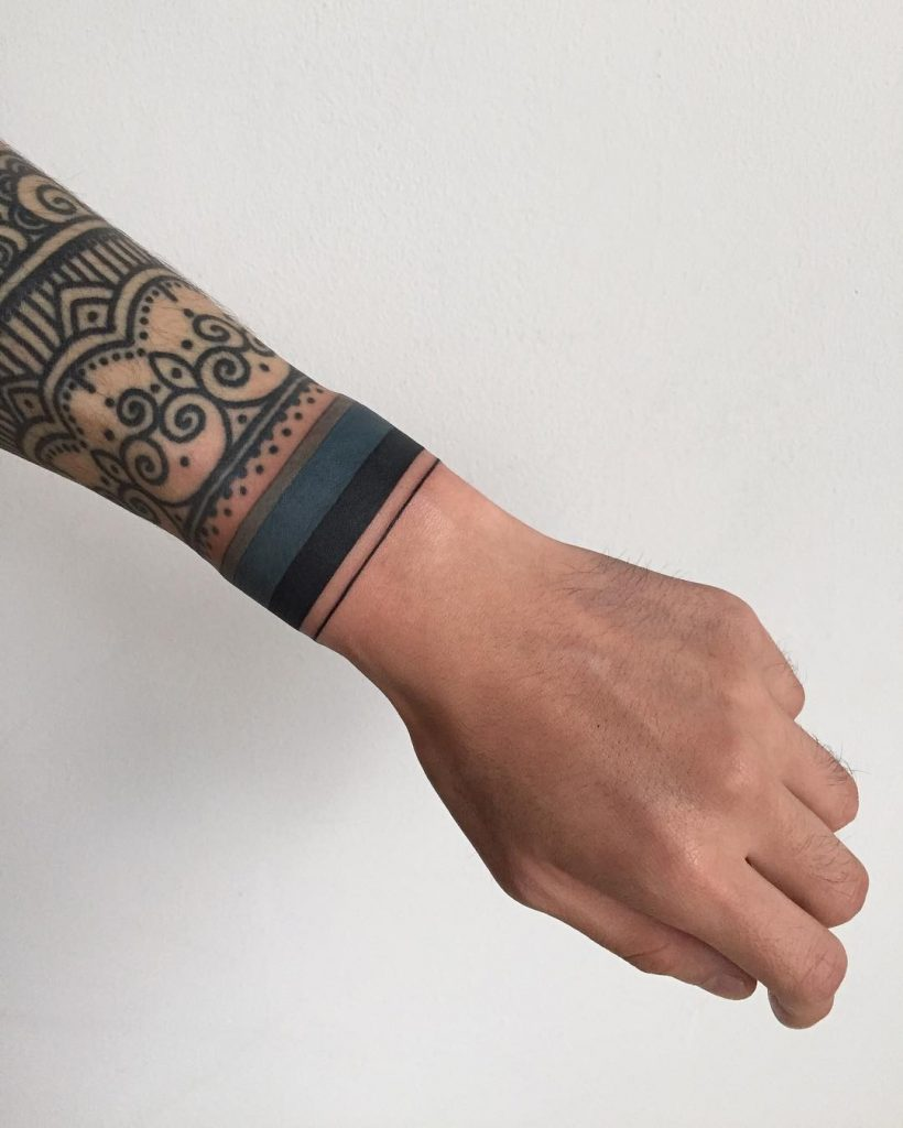 Blue and black stripe wristband