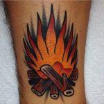 Burning wood tattoo