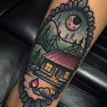 Cabin in the mountains tattoo by kevin ray