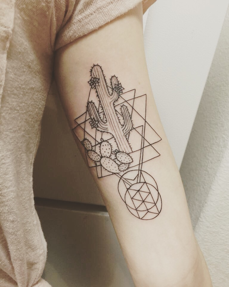 Cactus and geometric shapes tattoo