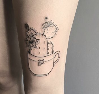 Cactus in a teacup tattoo