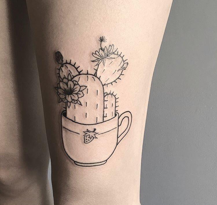 Cactus in a teacup tattoo