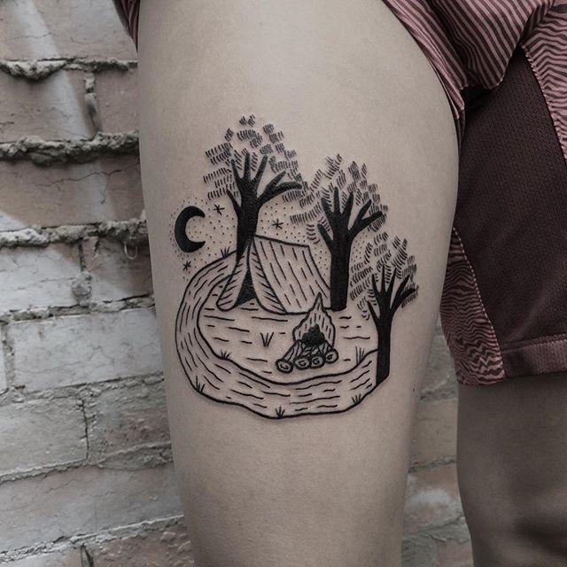 Camping site tattoo