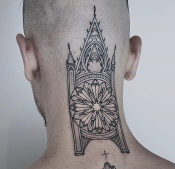 Church tattoo on the neck and head