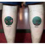 Circular botanical tattoos by tattooist dusty past