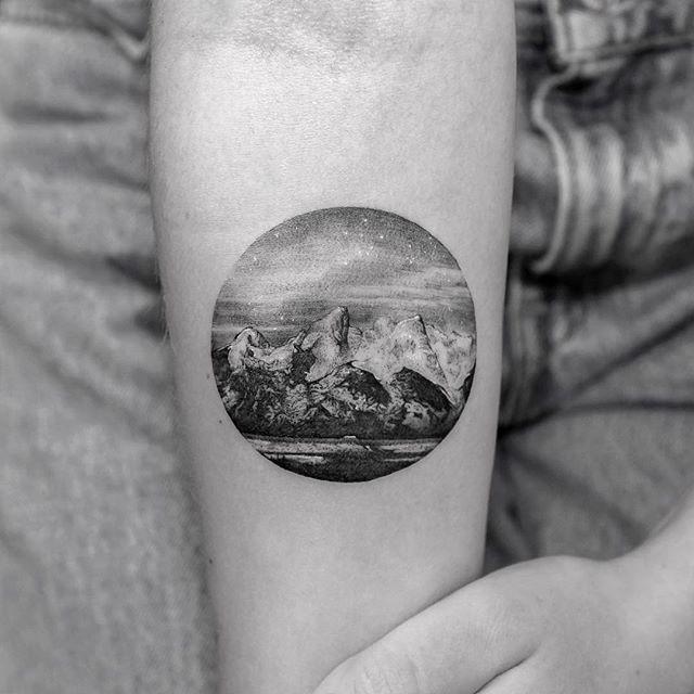 Circular landscape tattoo by sanghyuk ko