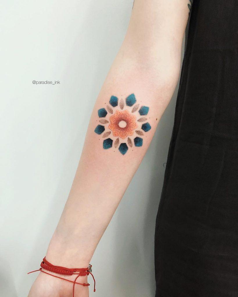 Colored ornament tattoo